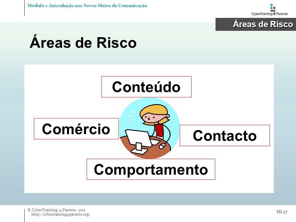 Áreas de Risco Módulo 1: Introdução aos Novos Meios de Comunicação © CyberTraining-4-Parents, 2012 http://cybertraining4parents.org/ M1.17 Áreas de Ri
