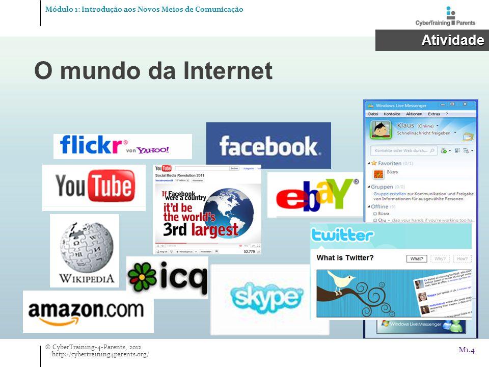 O mundo da Internet Atividade Módulo 1: Introdução aos Novos Meios de Comunicação © CyberTraining-4-Parents, 2012 http://cybertraining4parents.org/ M1