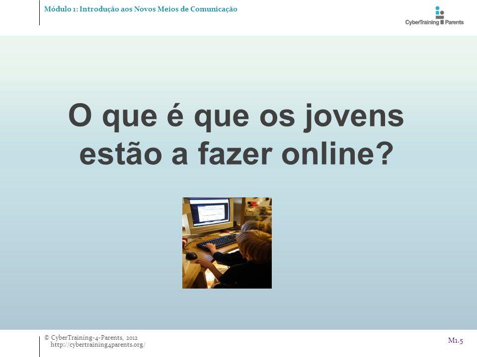 O que é que os jovens estão a fazer online? Módulo 1: Introdução aos Novos Meios de Comunicação © CyberTraining-4-Parents, 2012 http://cybertraining4p