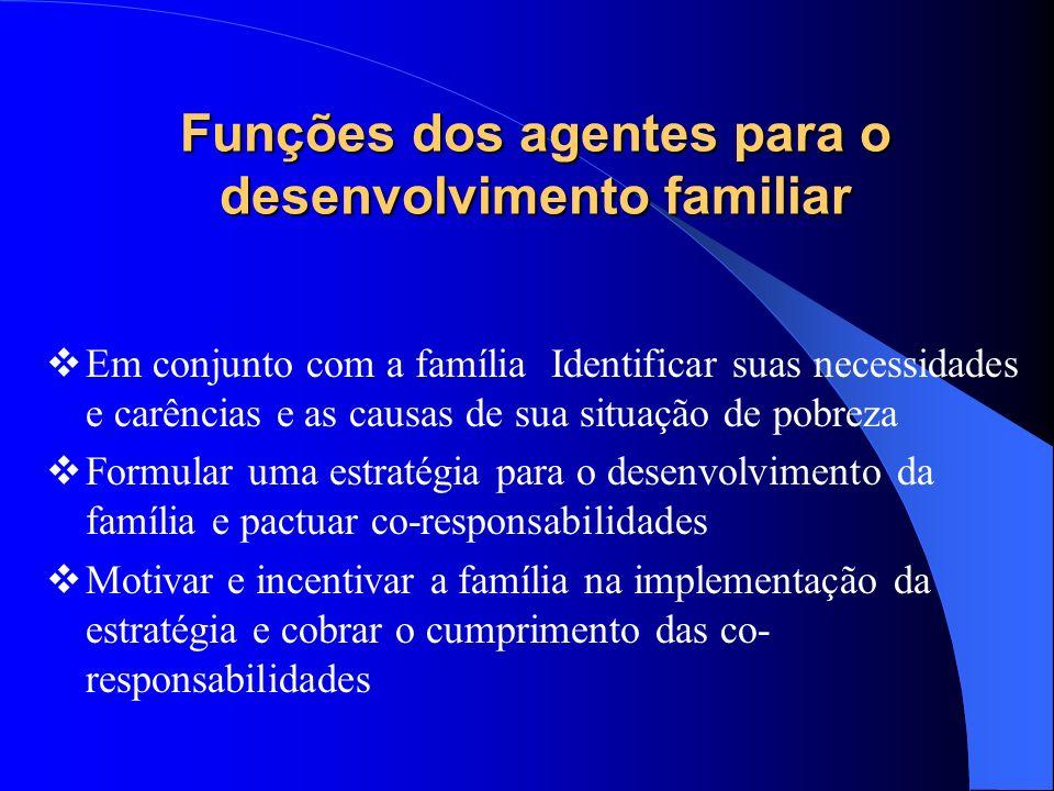 Funções dos agentes para o desenvolvimento familiar Em conjunto com a família Identificar suas necessidades e carências e as causas de sua situação de