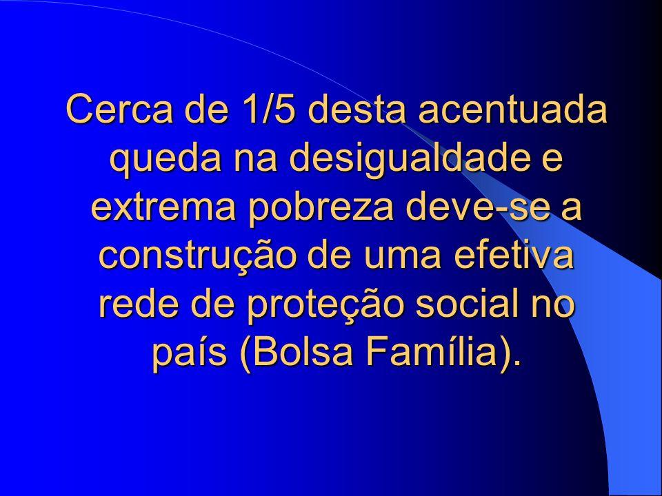 Cerca de 1/5 desta acentuada queda na desigualdade e extrema pobreza deve-se a construção de uma efetiva rede de proteção social no país (Bolsa Famíli