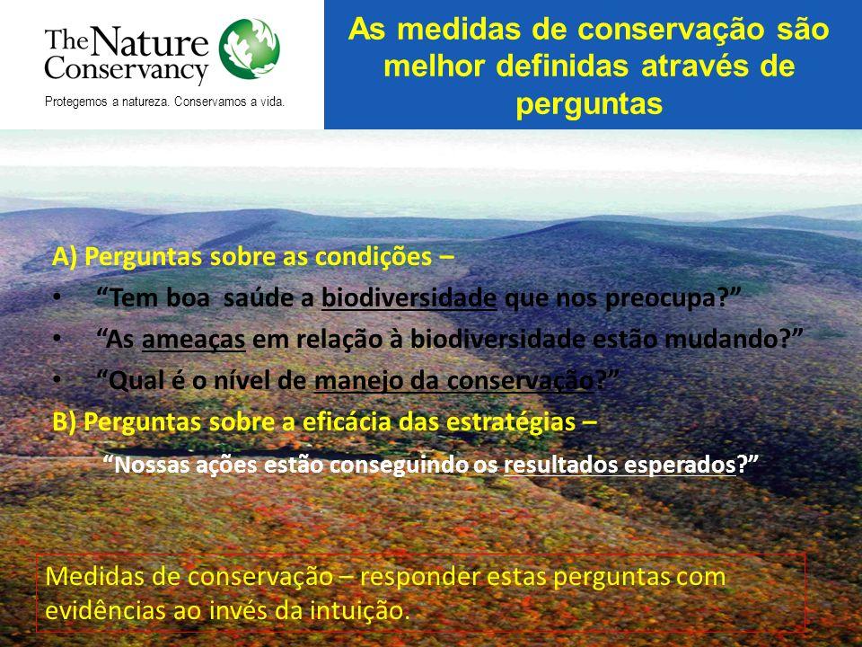 A) Perguntas sobre as condições – Tem boa saúde a biodiversidade que nos preocupa? As ameaças em relação à biodiversidade estão mudando? Qual é o níve