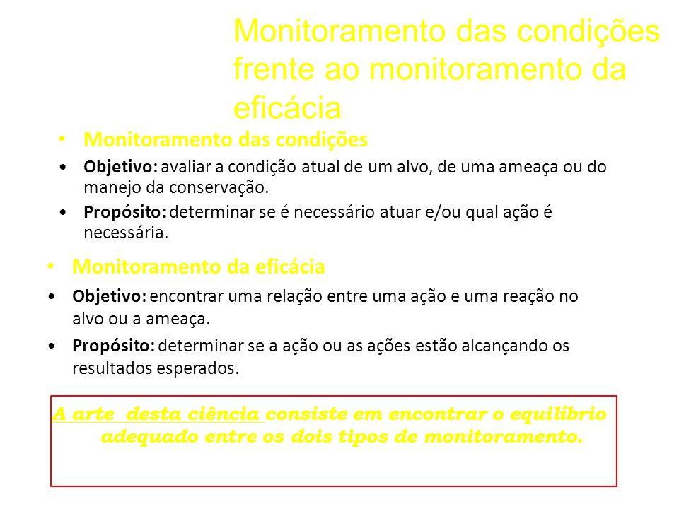 Monitoramento das condições frente ao monitoramento da eficácia Monitoramento das condições Objetivo: avaliar a condição atual de um alvo, de uma amea