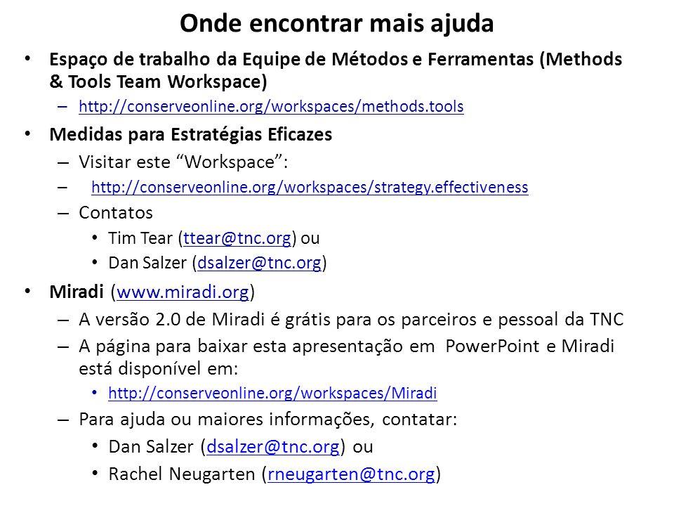 Onde encontrar mais ajuda Espaço de trabalho da Equipe de Métodos e Ferramentas (Methods & Tools Team Workspace) – http://conserveonline.org/workspace
