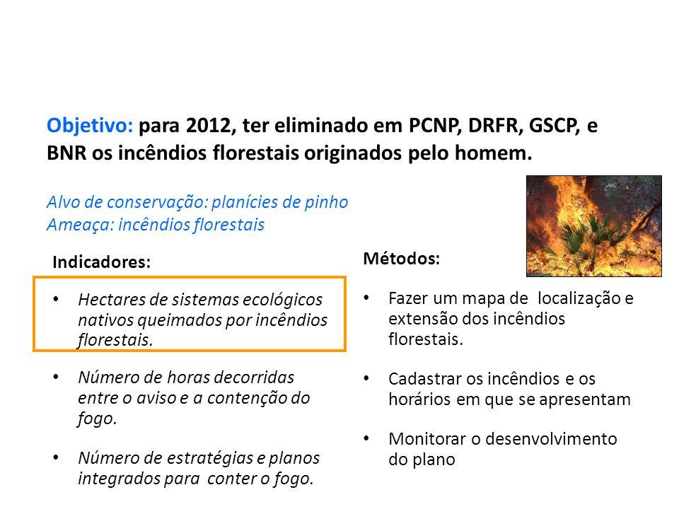 Indicadores: Hectares de sistemas ecológicos nativos queimados por incêndios florestais. Número de horas decorridas entre o aviso e a contenção do fog