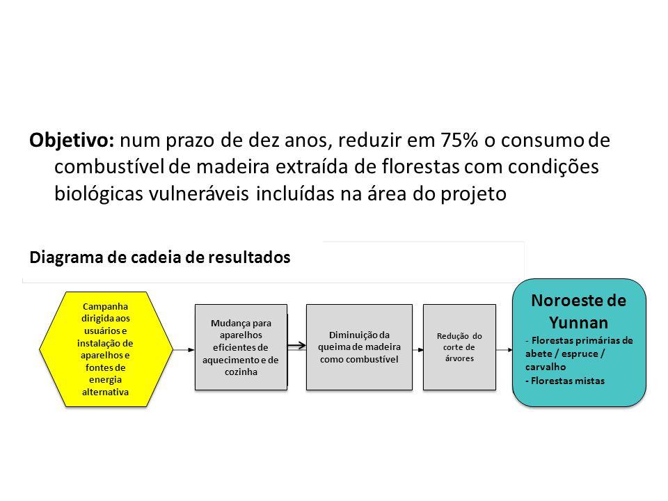Objetivo: num prazo de dez anos, reduzir em 75% o consumo de combustível de madeira extraída de florestas com condições biológicas vulneráveis incluíd