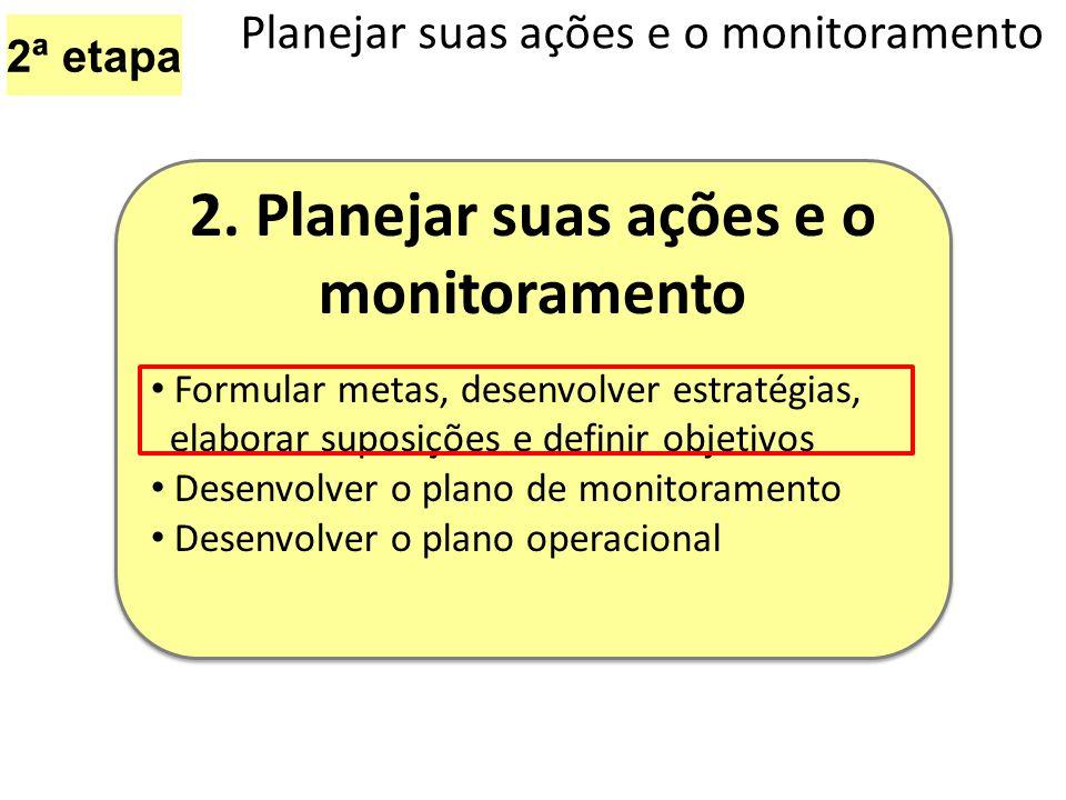 2ª etapa Planejar suas ações e o monitoramento 2. Planejar suas ações e o monitoramento Formular metas, desenvolver estratégias, elaborar suposições e