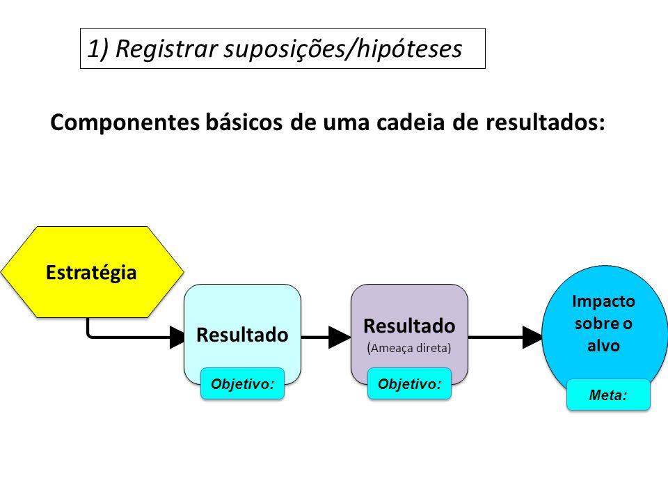 Componentes básicos de uma cadeia de resultados: 1) Registrar suposições/hipóteses Estratégia Resultado ( Ameaça direta) Resultado ( Ameaça direta) Im
