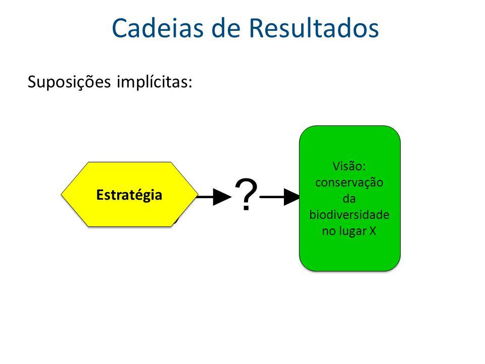 A partir de um modelo conceitual… … construir uma Cadeia de Resultados inicial Fator chave Ameaça direta Resultado (fator chave) Resultado (fator chave) Resultado (ameaça direta) Resultado (ameaça direta) Objeto Impacto (objeto) Impacto (objeto) Estratégia Alvo Impacto (alvo) Impacto (alvo)
