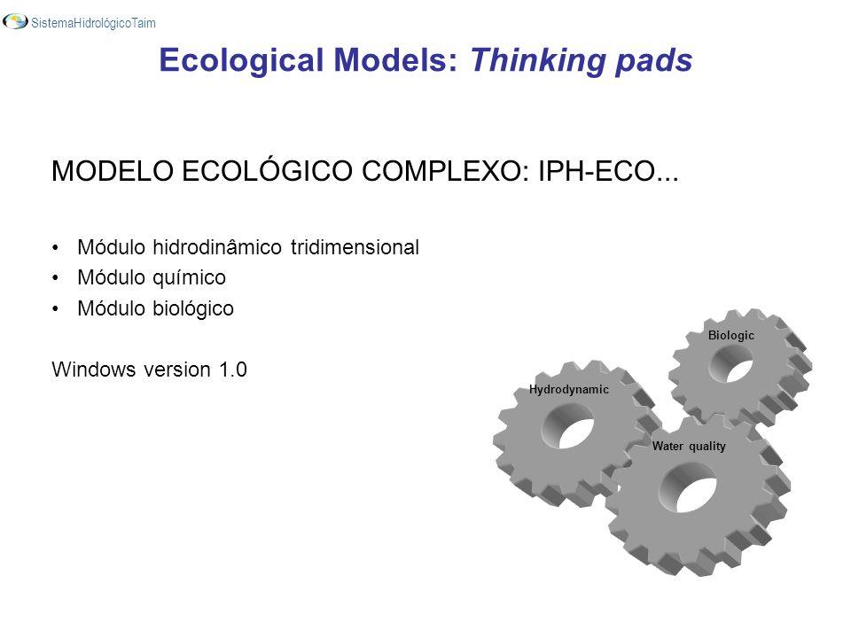MODELO ECOLÓGICO COMPLEXO: IPH-ECO... Módulo hidrodinâmico tridimensional Módulo químico Módulo biológico Windows version 1.0 Biologic Hydrodynamic Wa