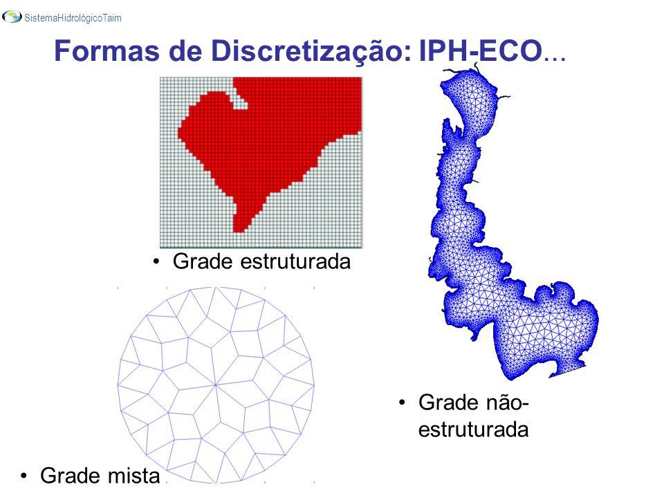 Grade mista Grade não- estruturada Grade estruturada Formas de Discretização: IPH-ECO... SistemaHidrológicoTaim