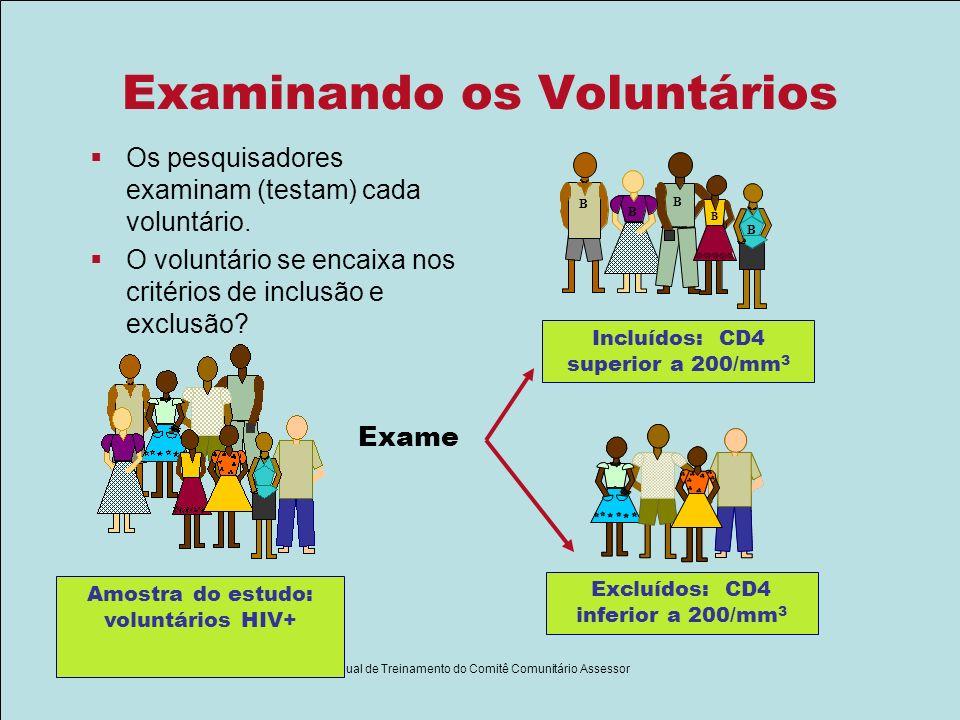 Módulo II - Slides Parte I Manual de Treinamento do Comitê Comunitário Assessor Examinando os Voluntários Os pesquisadores examinam (testam) cada volu
