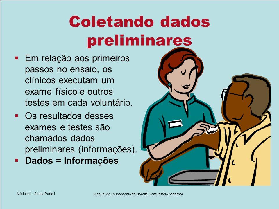 Módulo II - Slides Parte I Manual de Treinamento do Comitê Comunitário Assessor Coletando dados preliminares Em relação aos primeiros passos no ensaio