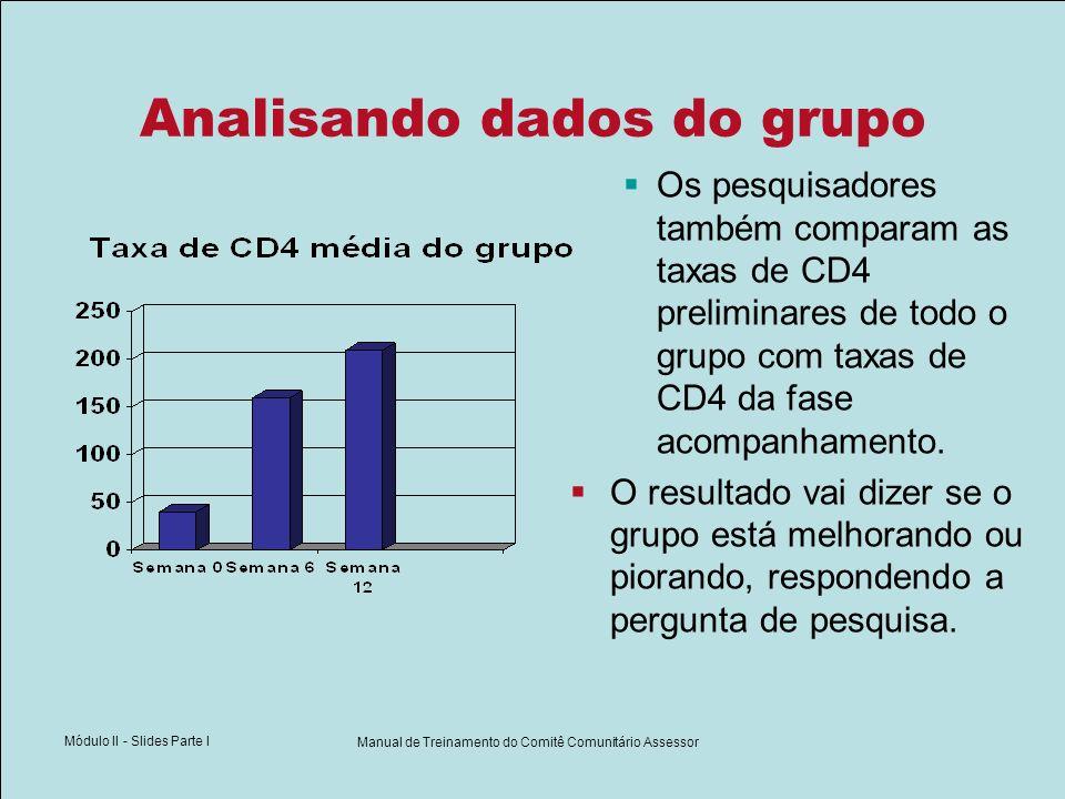 Módulo II - Slides Parte I Manual de Treinamento do Comitê Comunitário Assessor Analisando dados do grupo Os pesquisadores também comparam as taxas de