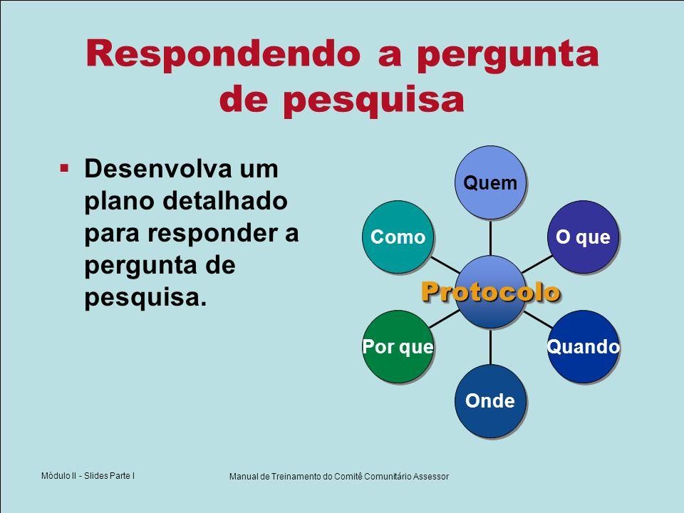 Módulo II - Slides Parte I Manual de Treinamento do Comitê Comunitário Assessor Respondendo a pergunta de pesquisa Desenvolva um plano detalhado para