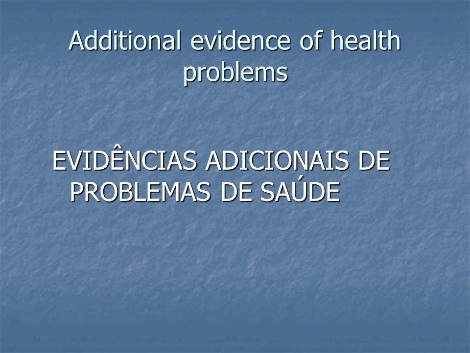 Additional evidence of health problems EVIDÊNCIAS ADICIONAIS DE PROBLEMAS DE SAÚDE