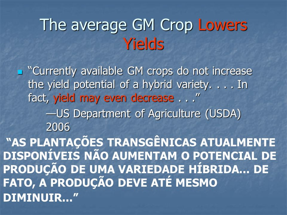 Lower and Erratic Performance GM soy has 4-11% less yield GM soy has 4-11% less yield GM cotton failures have occurred in the US, Indonesia, China and India GM cotton failures have occurred in the US, Indonesia, China and India Thousands of indebted Bt cotton farmers in India committed suicide Thousands of indebted Bt cotton farmers in India committed suicide Brazilian soybean yields are also down since GM soy.