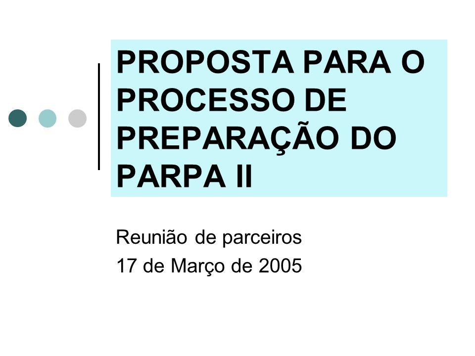 2 Objectivo Preparar o PARPA II até ao fim do ano 2005, assegurando a participação alargada de todos os parceiros, a eficiência do processo e a qualidade do documento final