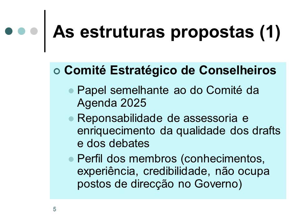 5 As estruturas propostas (1) Comité Estratégico de Conselheiros Papel semelhante ao do Comité da Agenda 2025 Reponsabilidade de assessoria e enriquec