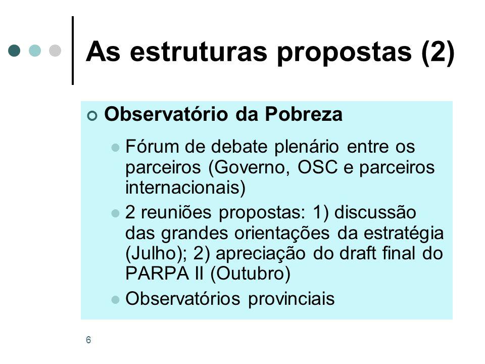 6 As estruturas propostas (2) Observatório da Pobreza Fórum de debate plenário entre os parceiros (Governo, OSC e parceiros internacionais) 2 reuniões