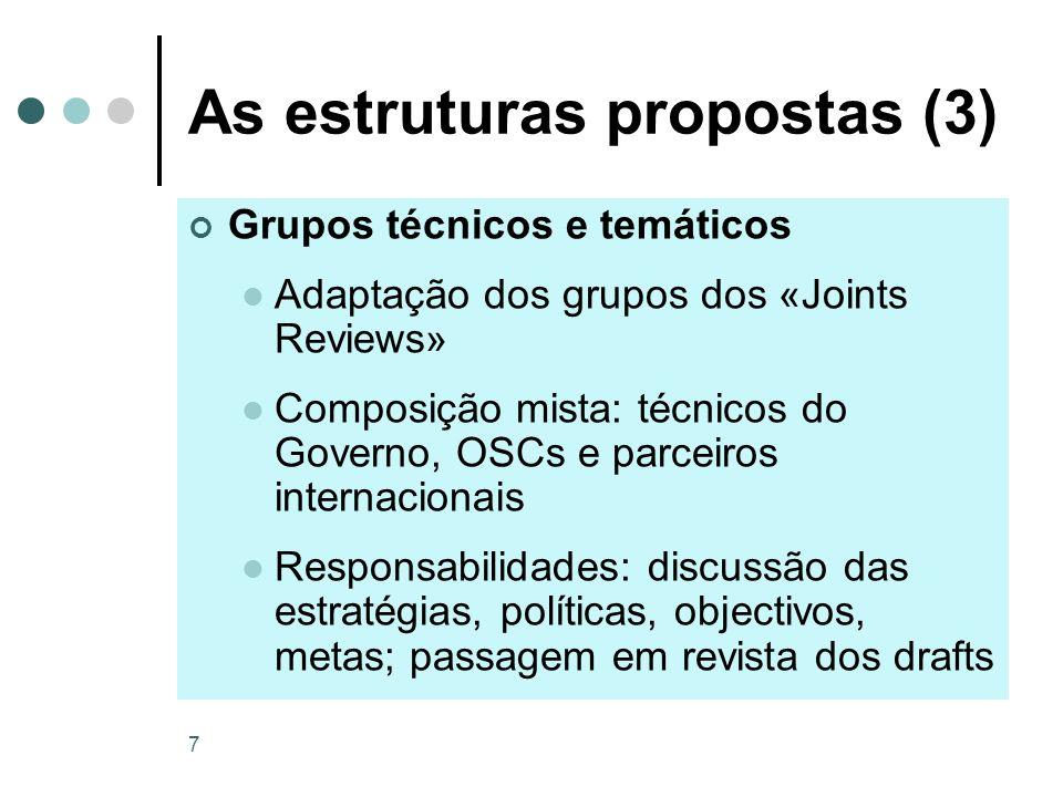 7 As estruturas propostas (3) Grupos técnicos e temáticos Adaptação dos grupos dos «Joints Reviews» Composição mista: técnicos do Governo, OSCs e parc
