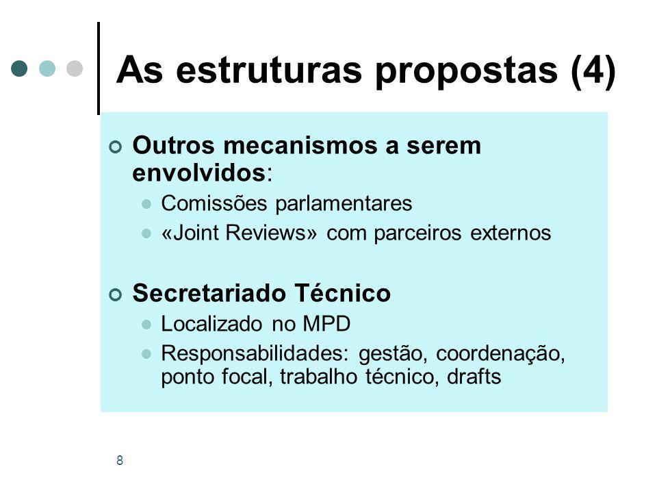 8 As estruturas propostas (4) Outros mecanismos a serem envolvidos: Comissões parlamentares «Joint Reviews» com parceiros externos Secretariado Técnic