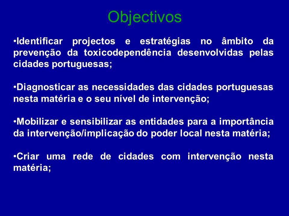 Objectivos Identificar projectos e estratégias no âmbito da prevenção da toxicodependência desenvolvidas pelas cidades portuguesas; Diagnosticar as ne