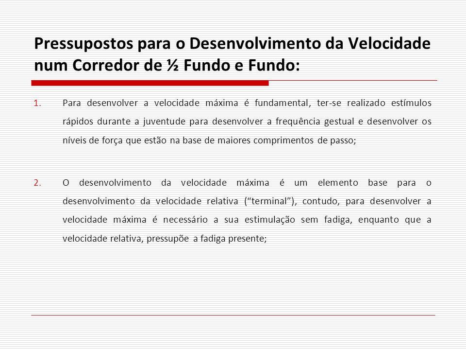 Pressupostos para o Desenvolvimento da Velocidade num Corredor de ½ Fundo e Fundo: 1.Para desenvolver a velocidade máxima é fundamental, ter-se realiz
