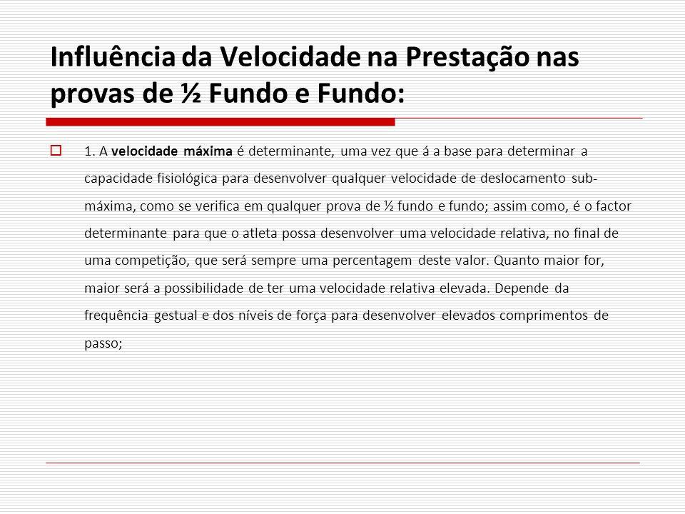 Influência da Velocidade na Prestação nas provas de ½ Fundo e Fundo: 1. A velocidade máxima é determinante, uma vez que á a base para determinar a cap