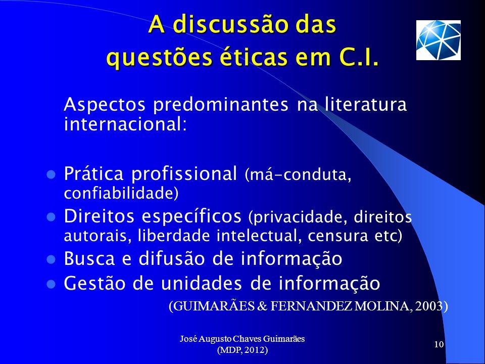 José Augusto Chaves Guimarães (MDP, 2012) 10 A discussão das questões éticas em C.I. Aspectos predominantes na literatura internacional: Prática profi