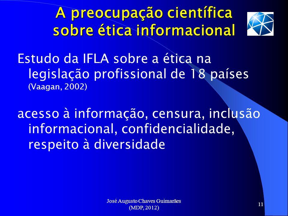 José Augusto Chaves Guimarães (MDP, 2012) 11 A preocupação científica sobre ética informacional Estudo da IFLA sobre a ética na legislação profissiona