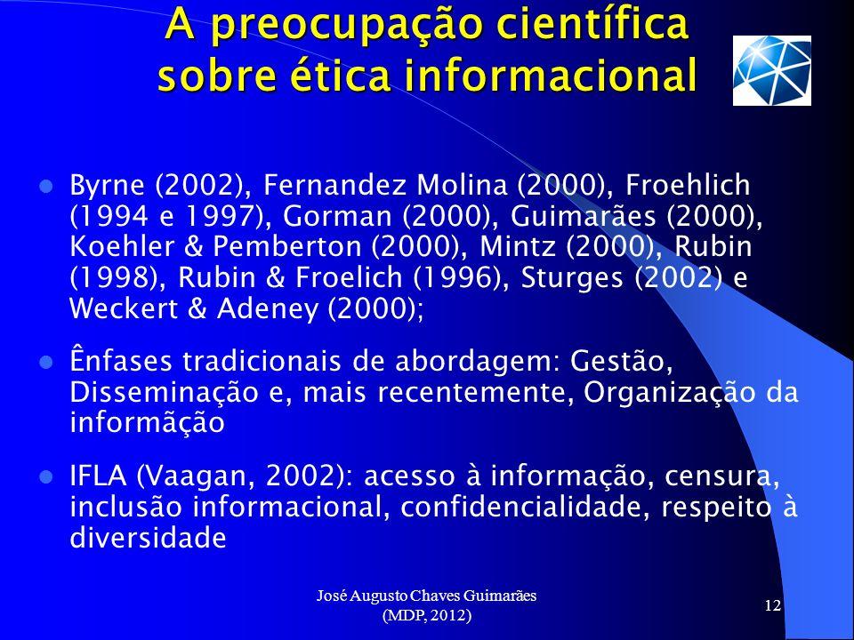 José Augusto Chaves Guimarães (MDP, 2012) 12 A preocupação científica sobre ética informacional Byrne (2002), Fernandez Molina (2000), Froehlich (1994