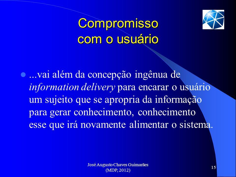 José Augusto Chaves Guimarães (MDP, 2012) 15 Compromisso com o usuário...vai além da concepção ingênua de information delivery para encarar o usuário