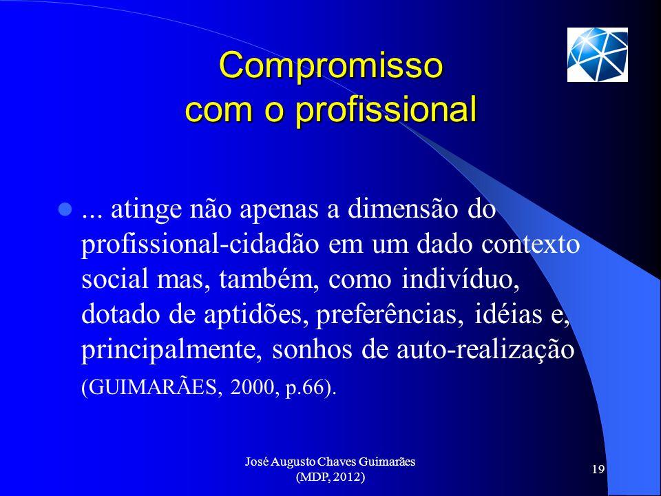 José Augusto Chaves Guimarães (MDP, 2012) 19 Compromisso com o profissional... atinge não apenas a dimensão do profissional-cidadão em um dado context