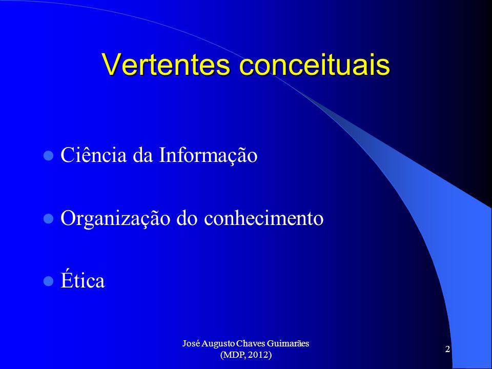 José Augusto Chaves Guimarães (MDP, 2012) 2 Vertentes conceituais Ciência da Informação Organização do conhecimento Ética