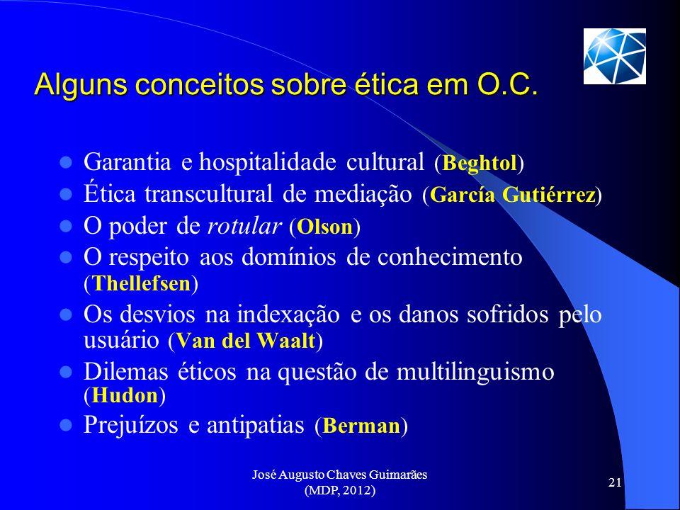 José Augusto Chaves Guimarães (MDP, 2012) 21 Alguns conceitos sobre ética em O.C. Garantia e hospitalidade cultural (Beghtol) Ética transcultural de m