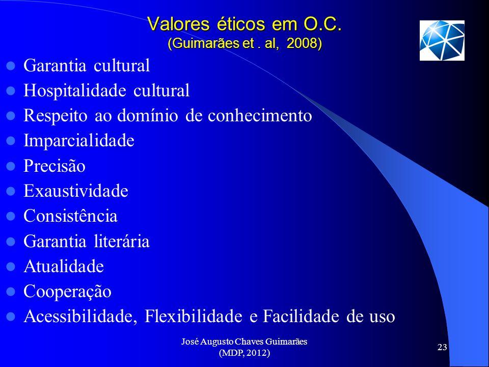 José Augusto Chaves Guimarães (MDP, 2012) 23 Valores éticos em O.C. (Guimarães et. al, 2008) Garantia cultural Hospitalidade cultural Respeito ao domí
