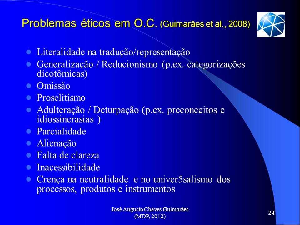 José Augusto Chaves Guimarães (MDP, 2012) 24 Problemas éticos em O.C. (Guimarães et al., 2008) Literalidade na tradução/representação Generalização /