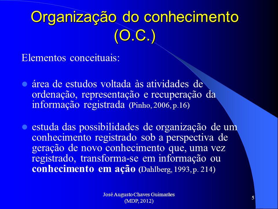 José Augusto Chaves Guimarães (MDP, 2012) 5 Organização do conhecimento (O.C.) Elementos conceituais: área de estudos voltada às atividades de ordenaç