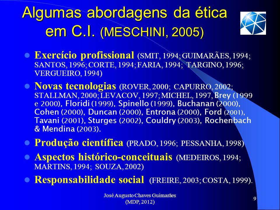 José Augusto Chaves Guimarães (MDP, 2012) 9 Algumas abordagens da ética em C.I. (MESCHINI, 2005) Exercício profissional (SMIT, 1994; GUIMARÃES, 1994;