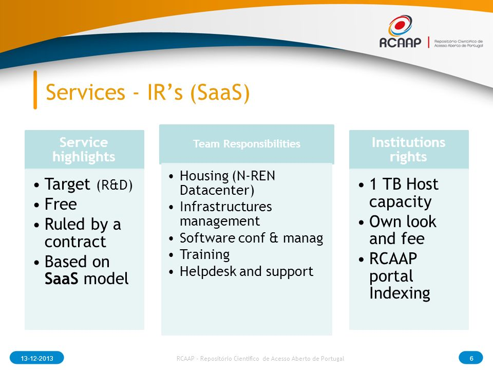 Services - IRs (SaaS) Service highlights Target (R&D) Free Ruled by a contract Based on SaaS model Team Responsibilities Housing (N-REN Datacenter) Infrastructures management Software conf & manag Training Helpdesk and support Institutions rights 1 TB Host capacity Own look and fee RCAAP portal Indexing RCAAP - Repositório Cientifico de Acesso Aberto de Portugal