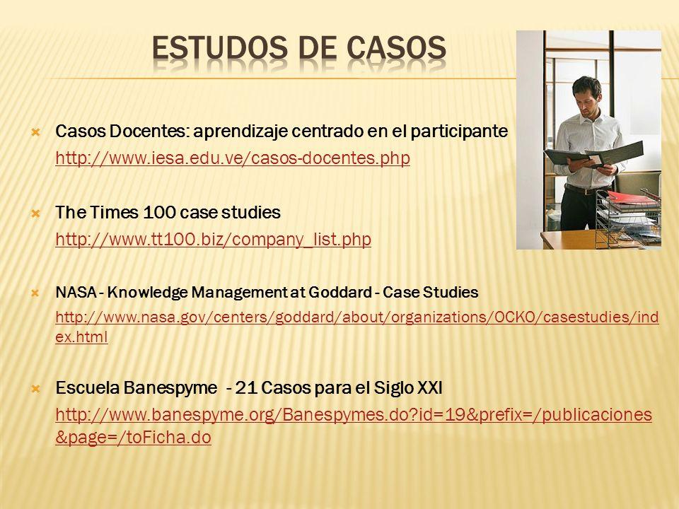 Casos Docentes: aprendizaje centrado en el participante http://www.iesa.edu.ve/casos-docentes.php The Times 100 case studies http://www.tt100.biz/comp