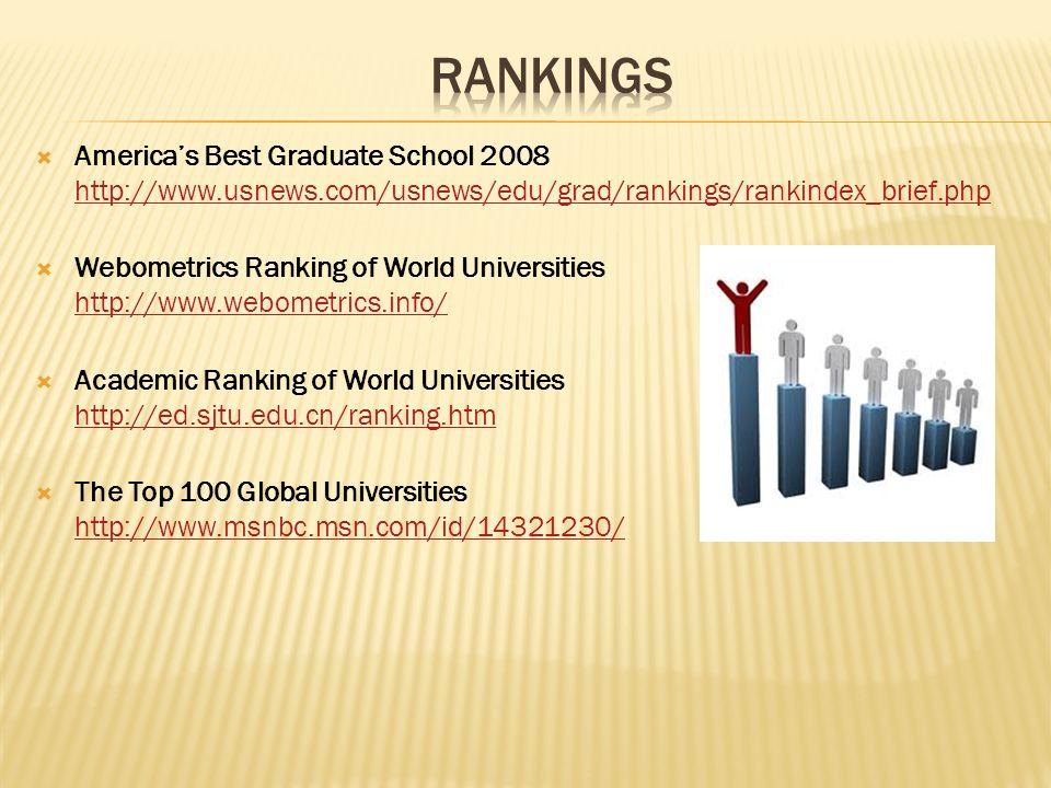 Americas Best Graduate School 2008 http://www.usnews.com/usnews/edu/grad/rankings/rankindex_brief.php http://www.usnews.com/usnews/edu/grad/rankings/r