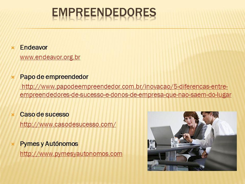 Endeavor www.endeavor.org.br Papo de empreendedor http://www.papodeempreendedor.com.br/inovacao/5-diferencas-entre- empreendedores-de-sucesso-e-donos-