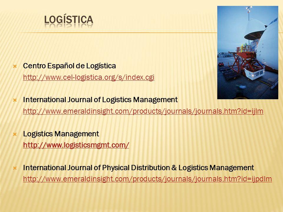Centro Español de Logística http://www.cel-logistica.org/s/index.cgi International Journal of Logistics Management http://www.emeraldinsight.com/produ