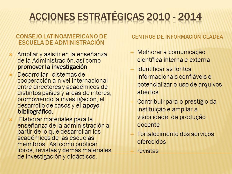 CONSEJO LATINOAMERICANO DE ESCUELA DE ADMINISTRACIÓN CENTROS DE INFORMACIÓN CLADEA Ampliar y asistir en la enseñanza de la Administración, así como pr