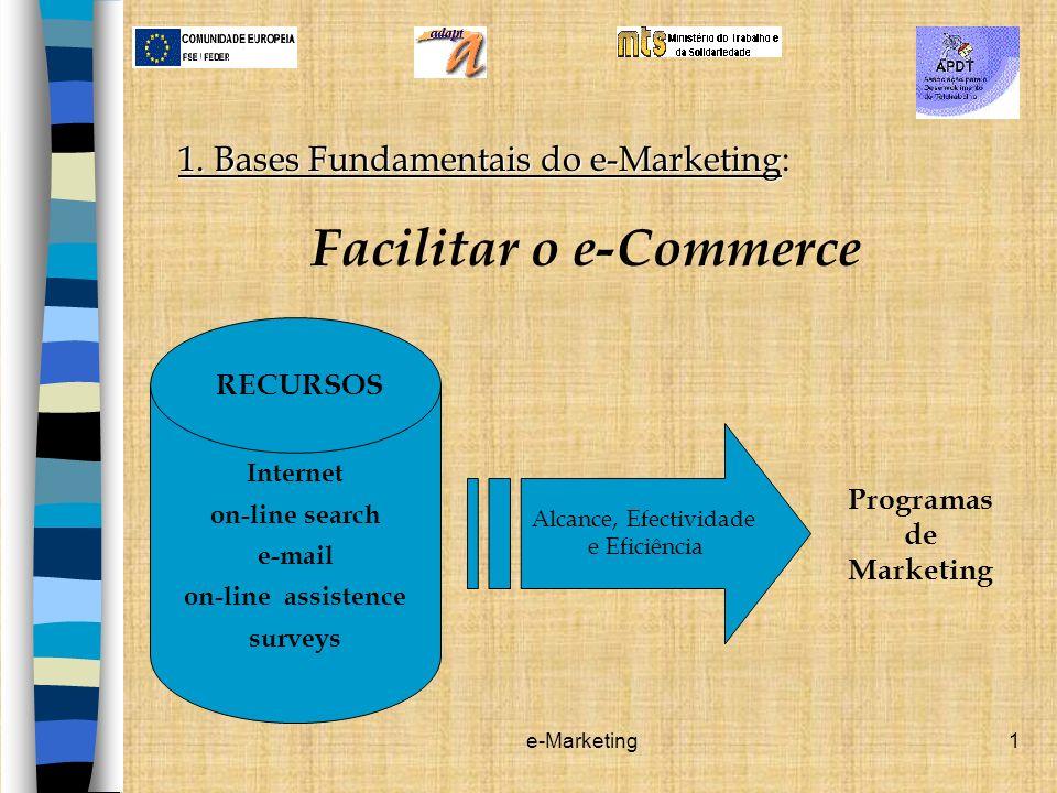 e-Marketing2 Conjunto de todas as actividades on-line que facilitam a produção de bens e serviços para satisfazer as necessidades e desejos dos consumidores.
