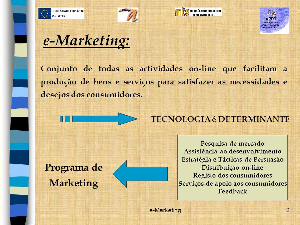 e-Marketing3 Sistema de transacções on-line e de intercomunicação, com base em redes de computadores.
