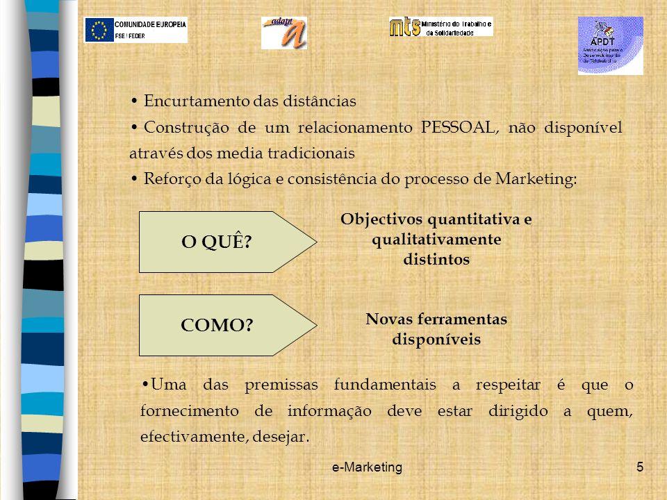 e-Marketing6 Recursos de e-Marketing Recursos de e-Marketing: Quanto maior o grau de conhecimento sobre os clientes, melhor será a capacidade de os satisfazer e de antecipar as suas necessidades.