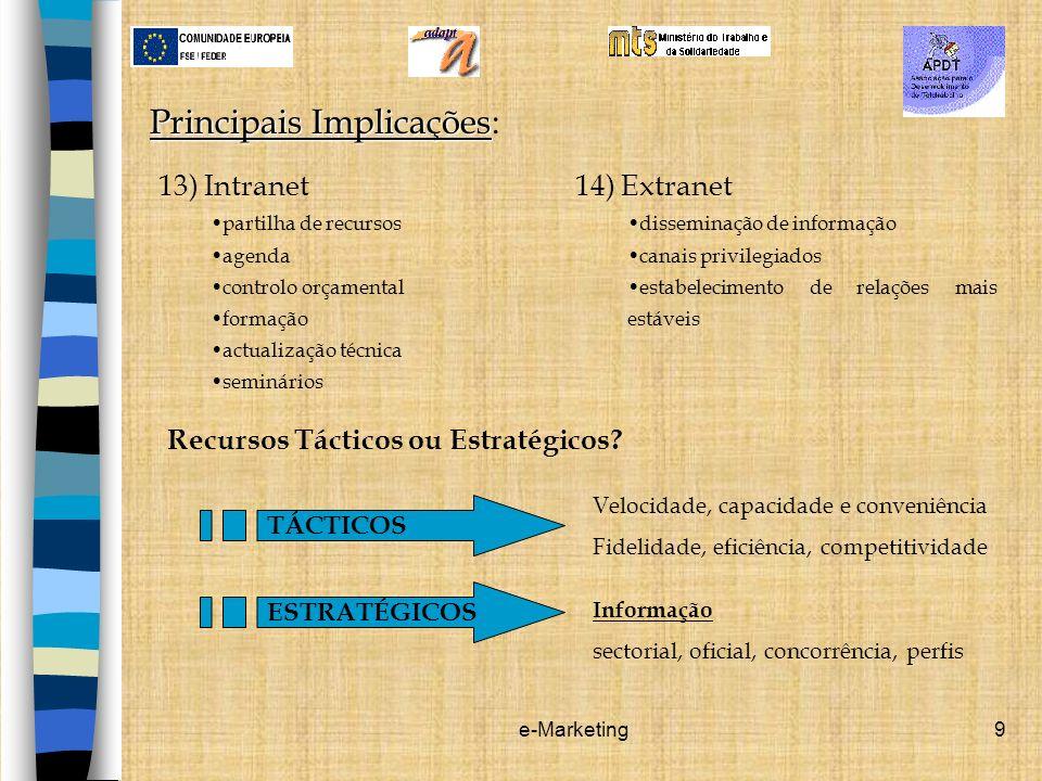 e-Marketing9 Principais Implicações Principais Implicações: 13) Intranet partilha de recursos agenda controlo orçamental formação actualização técnica